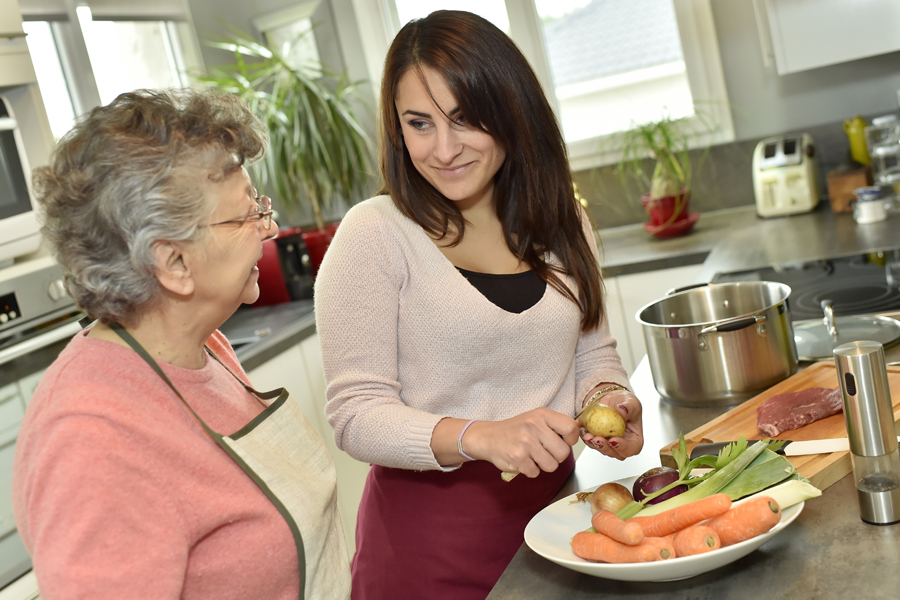 Home care services include preparing meals for elderly patients